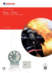 VENTILATEUR DE DESENFUMAGE F200 F400 fiche produit ATLANTIC