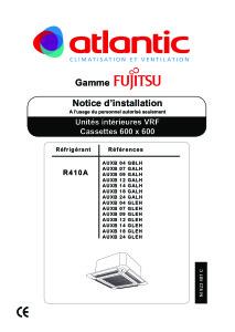 CASSETTES 600X600 COMPACTES notice installation AUXB 04 GBLH 04 07 09 12 14 18 24 GALH GLEH ATLANTIC