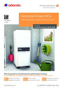NOTICE UTILISATION SIMPLIFIÉE KIMEO NOX (DUO)