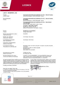 CHAUFFEO HZ racc côté Certificat NF