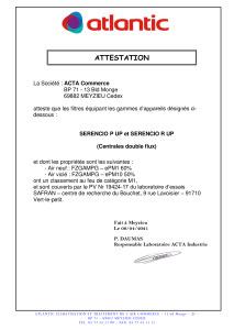 SERENCIO P UP et R UP Attestation Classement feu filtre ATLANTIC
