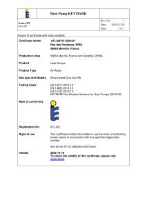 CERTIFICAT HP KEYMAR ALFEA HYBRID DUO GAZ R8